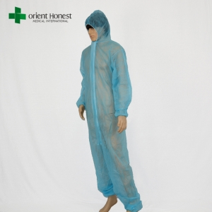 CE/ISO13485 certified PP disposable coveralls,PP28g blue disposable overalls,wholesales cheap disposable dust coverall suit