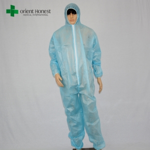 CPE coated PP coverall manufacturer,China plant customized overalls ,waterproof coverall suit disposable
