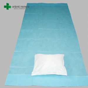 China best factory for hospital fitted stretcher sheet , disposable medical nonwoven pillow cover , nonwoven hospital bed sheet set