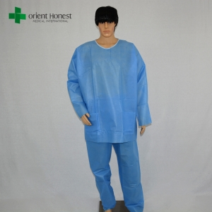 China disposable blue protective two piece coverall suit manufacturer
