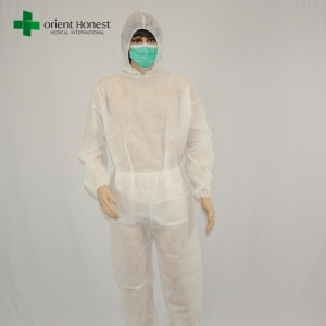 China exporter disposable two piece clothing,China supplier for non woven workwear coverall,disposable workwear white coverall suit