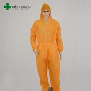 China factory orange disposable coveralls,wholesaler two pieces orange pp coveralls,disposable hooded orange work suits