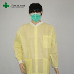 China manufacturer for good quality lab coat,yellow color lab coats with tree pockets,CE ISO certified disposable hospital lab coat