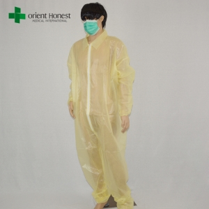 China plant non woven disposable coveralls,disposable PE coated PP yellow coverall,disposable medical coverall with collar