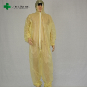 China supplier yellow cheap painting overalls,disposable pe coated PP coveralls,yellow plastic waterproof coveralls