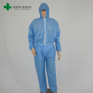 China wholesales disposable two pieces overall suits,China plant for blue two pieces overall uniform,disposable blue SMS two piece Coveralls