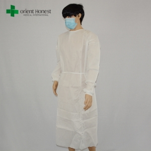 China wolesales medical consumables PP white knitted cuffs disposable gowns