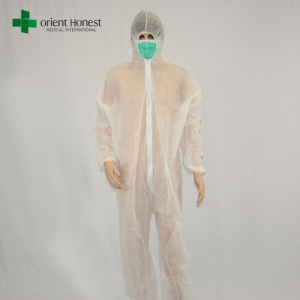 Chinese cheap safety work overall,white disposable PP working coverall,disposable dust workwear overall