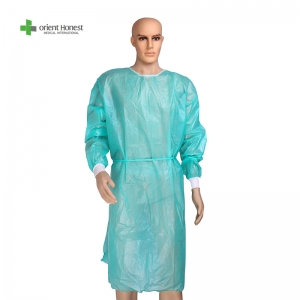 Disposable Level 1 isolation gown with knitted cuffs medical manufacturer