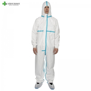 Disposable Microporous protective clothing coverall with with taping