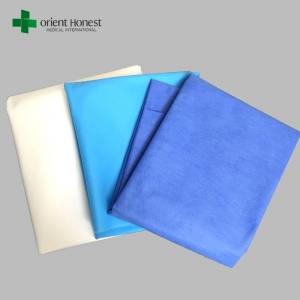 Disposable bed cover for hotels , hospital PP bed sheet , SMS blue surgical bed sheet