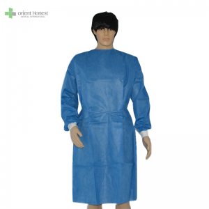 Disposable surgical gown with knitted cuffs medical manufacturer