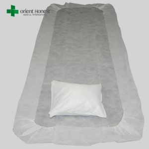 Flame resistant disposable pillow cover and bed sheet , cheap price disposable hotel bed sheets , disposable non woven bed sheet set manufacturer