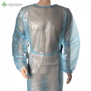 Level1 level2 level3 blue disposable isolation gown PP+PE coated inclined shoulder waterproof