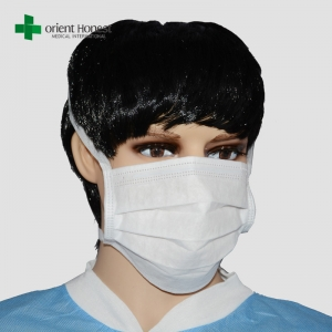 Nonwoven tie on surgical mask , 3 plys surgical face mask , factory for hospital masks