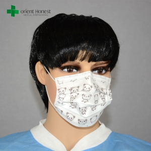 Single use children cartoon face mask , cool surgical masks , custom printed medical mask