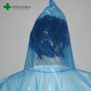 Blue Plastic Raincoat With Hood One Time Use Clear Rain