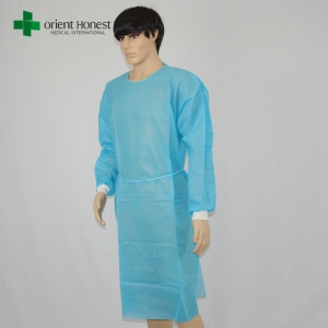 blue polyethylene surgical gown plant,medical PP isolation gown,medical doctor protective clothing