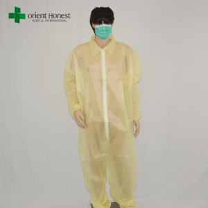 chinese disposable waterproof coveralls,single collar disposable plastic overall,yellow cheap diposable overalls wholesale