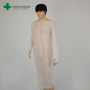 exporter for diposable CPE protective gown,waterproof surgical gowns vendor,white plastic isolation gowns