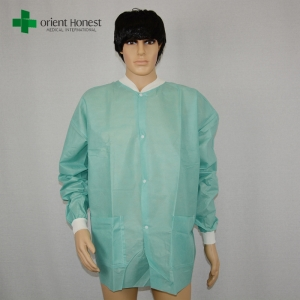 hospital use nonwoven lab coat, High Quality Medical green Lab Coat,non woven lab coat manufacturer in China