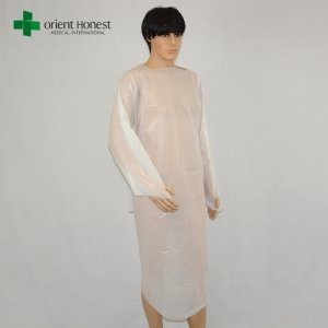 vendor for disposable CPE isolation gown,waterproof CPE gowns supplier,one piece style CPE hospital gowns