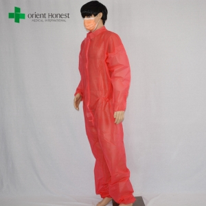wholesaler safety red clothing overalls,disposable safety working uniform,polypropylene safety workwear supplier
