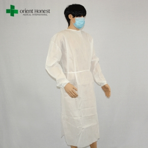 wholesales white nonwoven disposable gown ,standard size disposable nurse gown,PP nonwoven disposable gowns