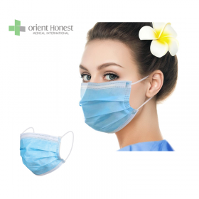 China 3 ply blue earloop disposable face mask for personal protection factory