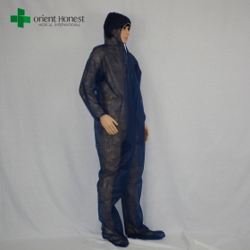 China China blue disposable coveralls manufacturer, PP body protective clothing,non-woven breathable coverall factory