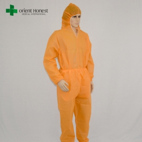 China China disposable two piece orange coverall,non-woven disposable orange coveralls,orange disposable coverall two piece style factory