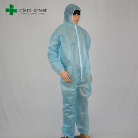 China China exporter for disposable Worker Coverall,wholesales disposable workman's coverall,PE waterproof workplace coverall factory