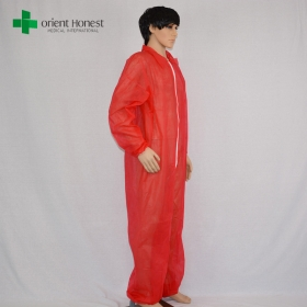 China China manufacturer disposable polypropylene coverall, disposable PP coverall red color,CE ISO certified polypropylene coverall factory