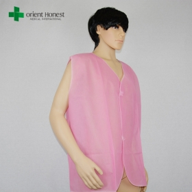 China China manufacturer disposable sock puppet, disposable pp nonwoven waistcoat, pink color disposable PP waistcoat factory