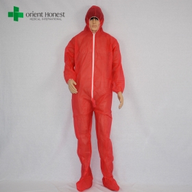 China plant dust disposable pp coverall,cheap red pp protective coverall,PP red color coverall with boots