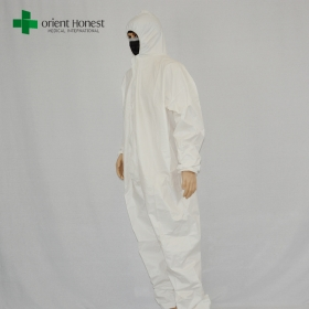 China China white disposable wholesale overall,CE ISO certificate protection coveralls ,the best suppier for protective clothing factory