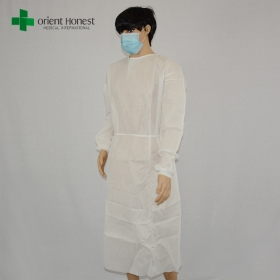 China China wolesales medical consumables PP white knitted cuffs disposable gowns factory