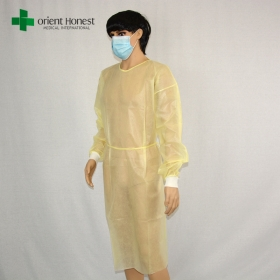 China China yellow pp medical isolation gowns ,China manufacturer disposale surgeon gown,China plant nonwoven isolation gown factory
