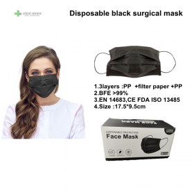 China Disposable  Black medical mask 3ply for hospital Manufacturer factory