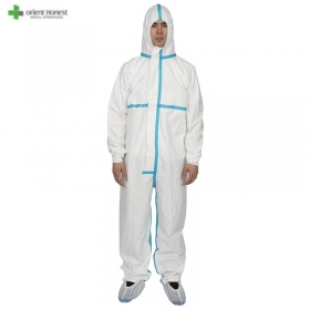 China Disposable Microporous protective clothing coverall with with taping factory