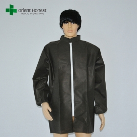 China Disposable Protective Non Woven Lab Coat Black Color Suppliers factory