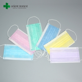China Disposable face mask suppliers China , 3 ply nonwoven mouth covers , TYPE IIR dental mask factory