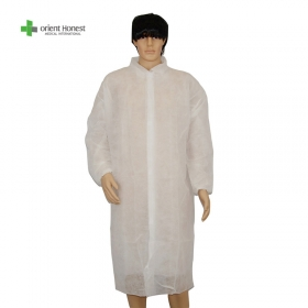 China Disposable white non woven dustproof lab coat with pouch for factory factory