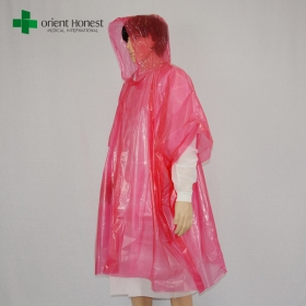 China LDPE transparent plastic rain suits,China supplier plastic raincoat with hood,clear red disposable emergency poncho factory
