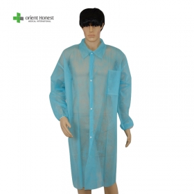 China Non woven disposable lab coat with four snaps for factory work shop hospital factory