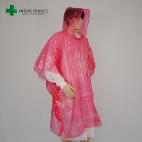 China PE red color waterproof plastic disposable raincoat with hood suppliers factory