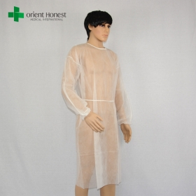 China PP20g isolation gown manufacturer China, white isolation gown for hospital, cheap doctor isolation gowns factory