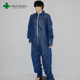 China Polypropyene disposable colored overall manufacturer,dark blue dust disposable overalls supplier,one time use nonwoven coverall plant factory