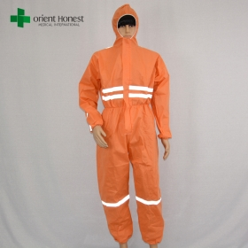 China SMS disposable coverall for oil and gas,disposable SMS coverall for safety,orange disposable coverall workwear plant factory