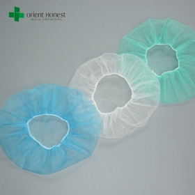 China Surgical PP Nonwoven Disposable Round Bouffant Caps Manufacturers factory